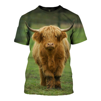 3D All Over Printed Highland Cattle T Shirt Hoodie 191203
