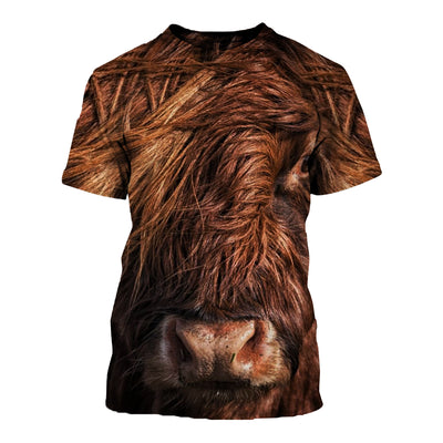 3D All Over Printed Highland Cattle T Shirt Hoodie 191208