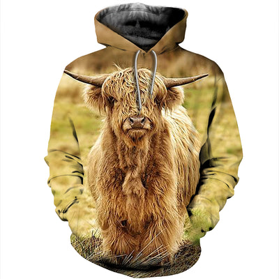 3D All Over Printed Highland Cattle T Shirt Hoodie 191209