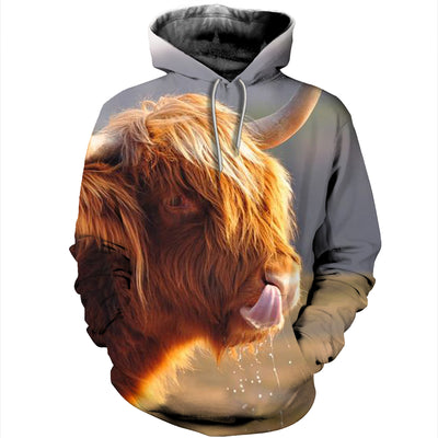 3D All Over Printed Highland Cattle T Shirt Hoodie 1912010
