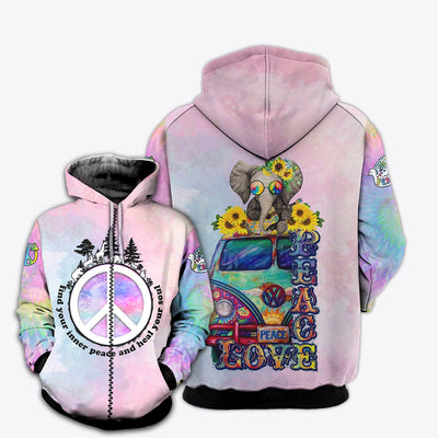 HIPPIE PINK PEACE BUS 3D FULL OVER PRINTED CLOTHES
