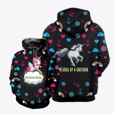 HIPPIE THE SOUL OF UNICORN 3D FULL OVER PRINTED CLOTHES
