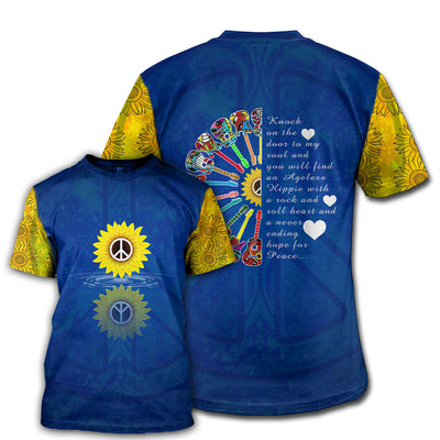 HIPPIE BLUE YELLOW SUNFLOWER PEACE 3D FULL OVER PRINTED CLOTHES