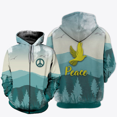 HIPPIE PEACE DOVE & FOREST PATTERN 3D FULL OVER PRINTED CLOTHES