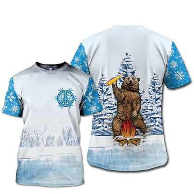 HIPPIE CAMPING & BEAR IN THE WINTER 3D FULL OVER PRINTED CLOTHES