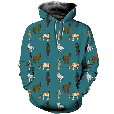 3D All Over Printed Horse T Shirt Hoodie 1812015