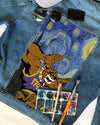 Omega Psi Phi DENIM JACKET with Starry night painting