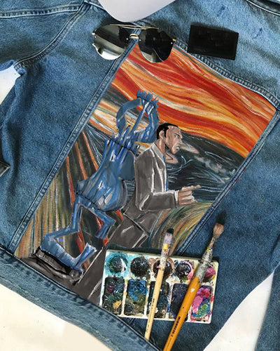PBS CUSTOMIZED DENIM JACKET with THE SCREAM PAINTING