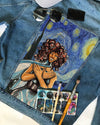 ZETA PHI BETA DENIM JACKET with Van Gogh Starry night painting