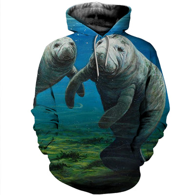 3D All Over Printed Manatee T Shirt Hoodie 201211