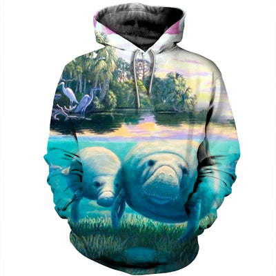 3D All Over Printed Manatee T Shirt Hoodie 20124