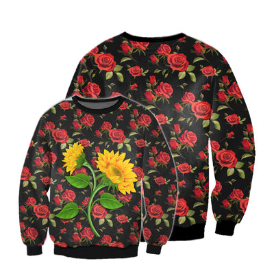 SUNFLOWER & ROSES PATTERN 3D FULL OVER PRINTED CLOTHES