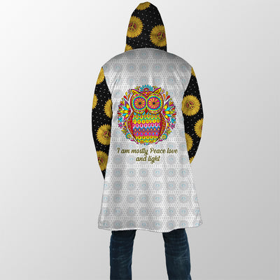 HIPPIE I AM MOSTLY PEACE LOVE AND LIGHT 1 HOODED COAT