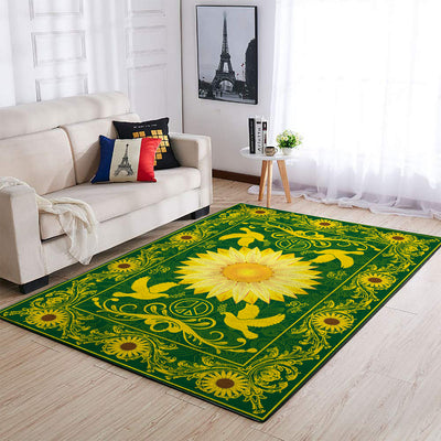 THE SUNFLOWERS AND GOLDEN PEACE SIGN HIPPIE PATTERN AREA RUG