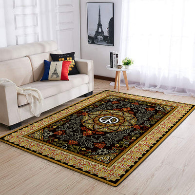 HIPPIE PEACE SIGN WITH GORGEOUS PATTERNS AREA RUG