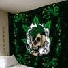 A SKULL WITH CANNABIS WITH MANDALA BACKGROUND HIPPIE TAPESTRY