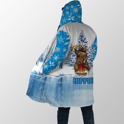 HIPPIE DANCING BEAR IN FRONT OF THE FIRE HOODED COAT