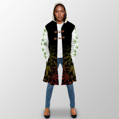 I COME IN PEACE QUOTE IN CANNABIS BACKGROUND 1 HIPPIE HOODED COAT