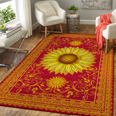 HIPPIE THE LUXURIOUS SUNFLOWERS PATTERN HIPPIE AREA RUG 2