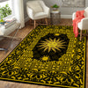 WONDERFUL SUN IN BLACK & GOLDEN ROYAL BACKGROUND HIPPIE AREA RUG