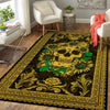 GOLDEN SKULL WITH SUNFLOWERS ROYAL PATTERN HIPPIE AREA RUG
