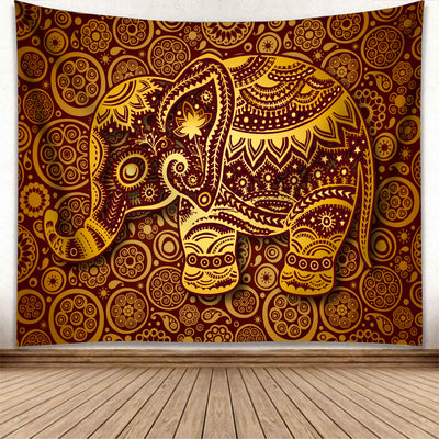 HIPPIE FABULOUS ELEPHANT WITH MANDALA PATTERNS TAPESTRY