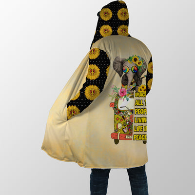 IMAGINE ALL THE PEOPLE LIVING LIFE IN PEACE 1 HIPPIE HOODED COAT