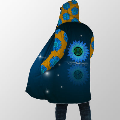 PEACE SIGN & SUNFLOWER IN STARS BACKGROUND HIPPIE HOODED COAT