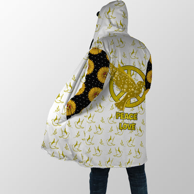 HIPPIE DOVE AND PEACE LOVE YELLOW QUOTE HOODED COAT