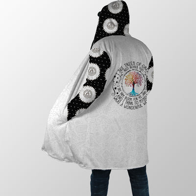 BLACK & WHITE WHAT A WONDERFUL WORLD HIPPIE HOODED COAT