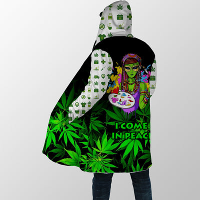 I COME IN PEACE QUOTE IN CANNABIS BACKGROUND 2 HIPPIE HOODED COAT