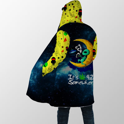 IT'S 4.20 SOMEWHERE WITH ALIEN IN THE MOON HIPPIE HOODED COAT
