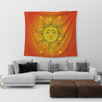 FABULOUS HIPPIE SUN IN MANDALA PATTERNS TAPESTRY