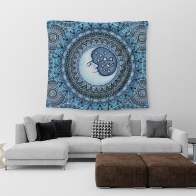 THE WONDROUS MOON WITH HIPPIE MANDALA PATTERNS TAPESTRY