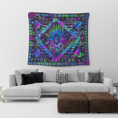 HIPPIE INCREDIBLE & COLOURFUL UNIVERSAL SYMBOLS TAPESTRY