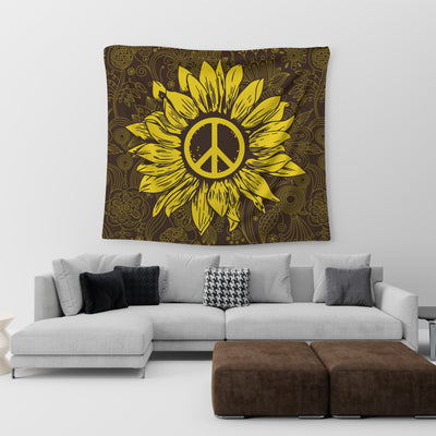 GOLDEN PEACE SIGN IN BEAUTIFUL SUNFLOWER HIPPIE TAPESTRY