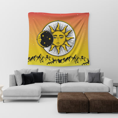 HIPPIE COMBINATION OF WONDERFUL SUN, MOON AND STARS TAPESTRY