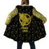 HIPPIE DOVE AND PEACE LOVE YELLOW QUOTE 2 HOODED COAT