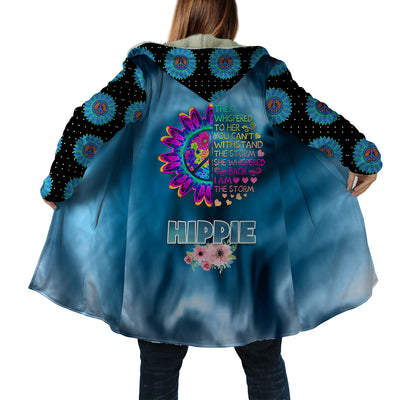 THE SUNFLOWERS & I AM THE STORM QUOTE HIPPIE HOODED COAT
