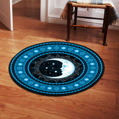 FABULOUS MOON WITH BEAUTIFUL STARS HIPPIE ROUND CARPET