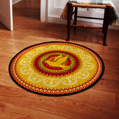 HIPPIE PEACE DOVE IN BEAUTIFUL PATTERNS ROUND CARPET