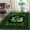 A SKULL WITH CANNABIS IN GREEN BACKGROUND HIPPIE AREA RUG