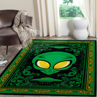 AN ALIEN BETWEEN THE UFOs WITH WONDERFUL HIPPIE BACKGROUND AREA RUG