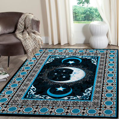 THE FABULOUS MOON AND STARS WITH HIPPIE PATTERN AREA RUG