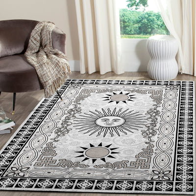 THE FABULOUS HIPPIE SUN IN BLACK & WHITE BACKGROUND AREA RUG