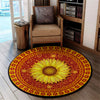 LUXURIOUS SUNFLOWER HIPPIE PATTERN ROUND CARPET 2