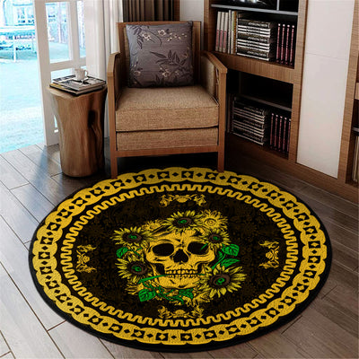 A SKULL WITH SUNFLOWERS WONDERFUL HIPPIE ROUND CARPET
