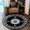 PEACE SIGN IN BLACK & WHITE SUNFLOWER HIPPIE PATTERN ROUND CARPET