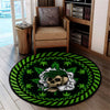 A SKULL WITH CANNABIS GREEN BACKGROUND HIPPIE ROUND CARPET