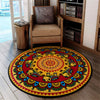 HIPPIE PEACE SIGN WITH COLOURFUL PATTERNS ROUND CARPET